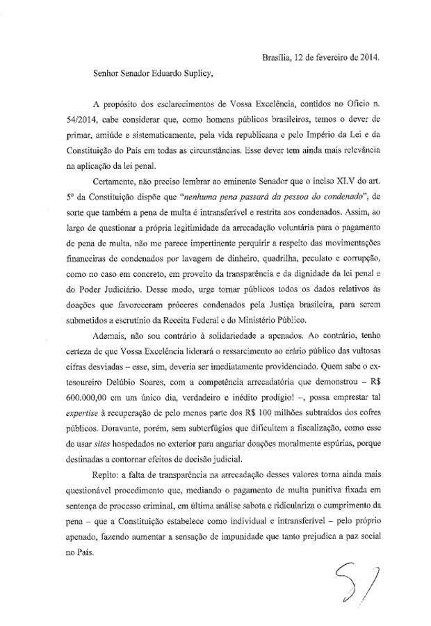 Carta Ministro Gilmar Mendes 1
